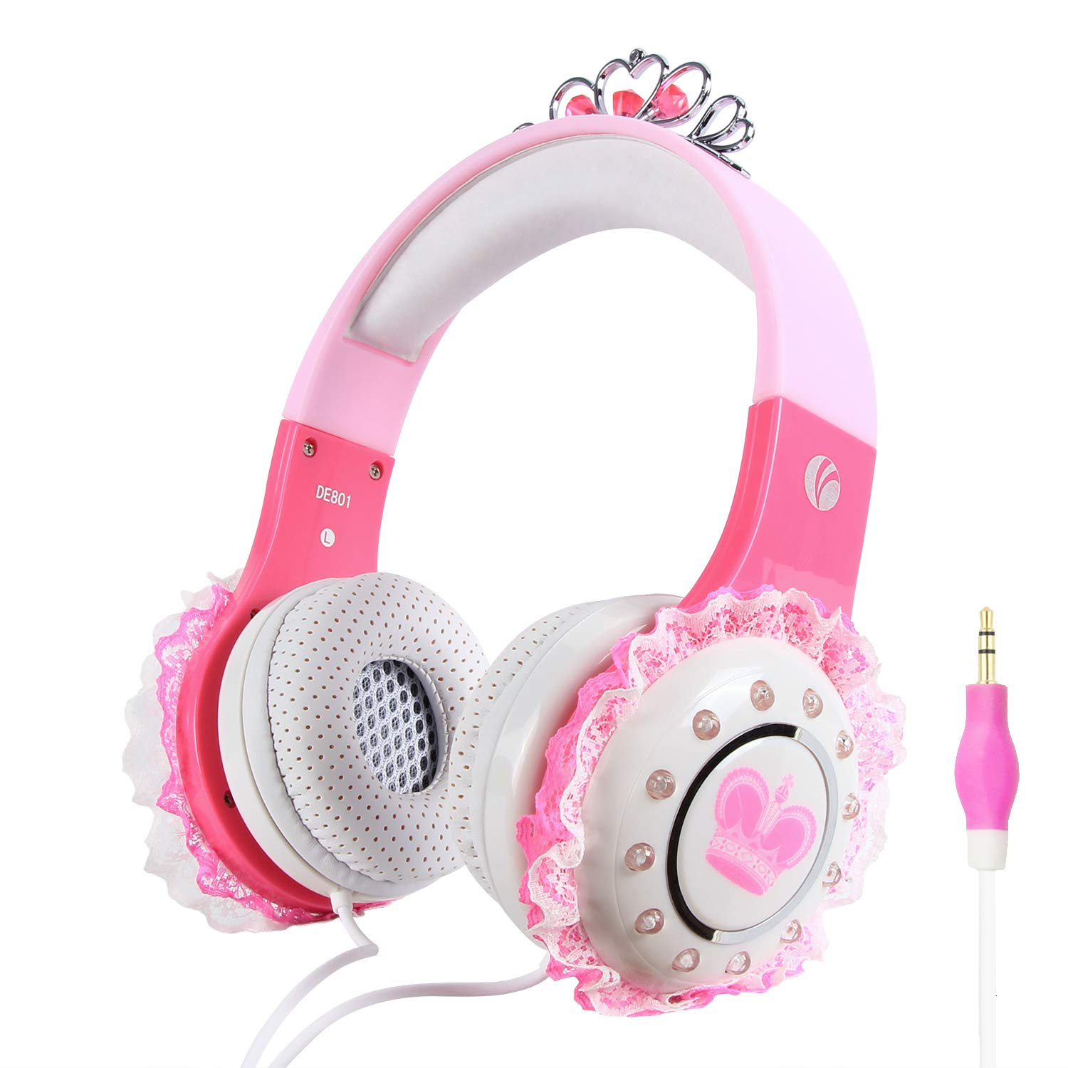 VCOM Kids Headphones, Over Ear Princess Stereo Headsets Children Friendly Earphone with Volume Limiting Feature, 3.5mm Jack Compatible for iPad Kindle Fire Tablet Smartphones Laptop MP3/4 (Pink)