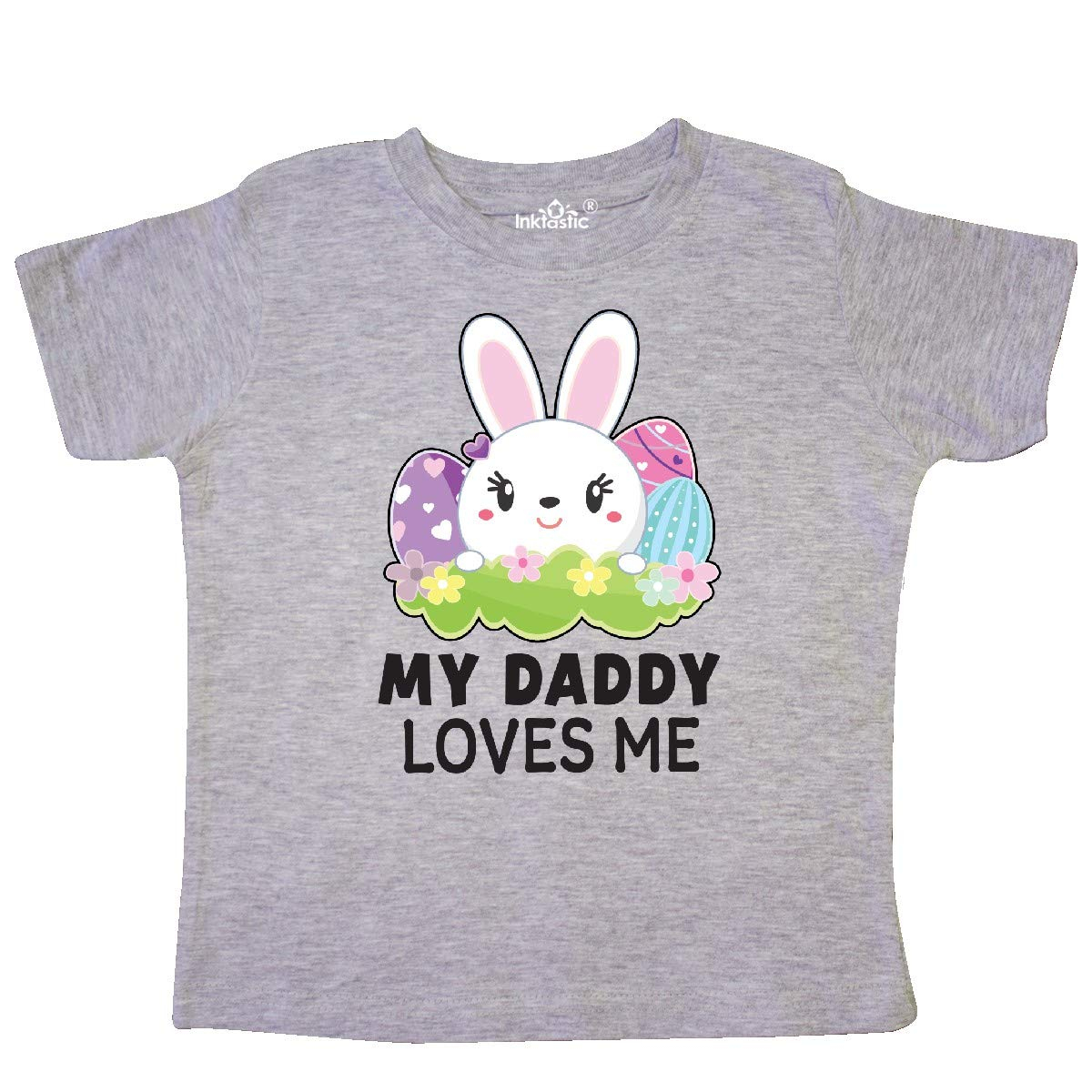 inktastic My Daddy Loves Me with Bunny and Easter Eggs Toddler T-Shirt