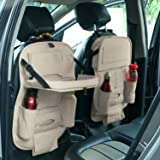 AllExtreme EXFTCOC2 Universal PU Leather Auto Car Seat Back Organizer with Foldable Dining Table Tray, Multipocket Storage Tablet, Bottle and Tissue Paper Holder (Beige, 2Pcs)
