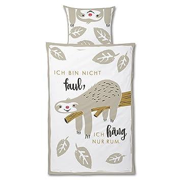 Die Geschenkewelt 45175 Happy Life Bettwäsche Faultier Baumwolle