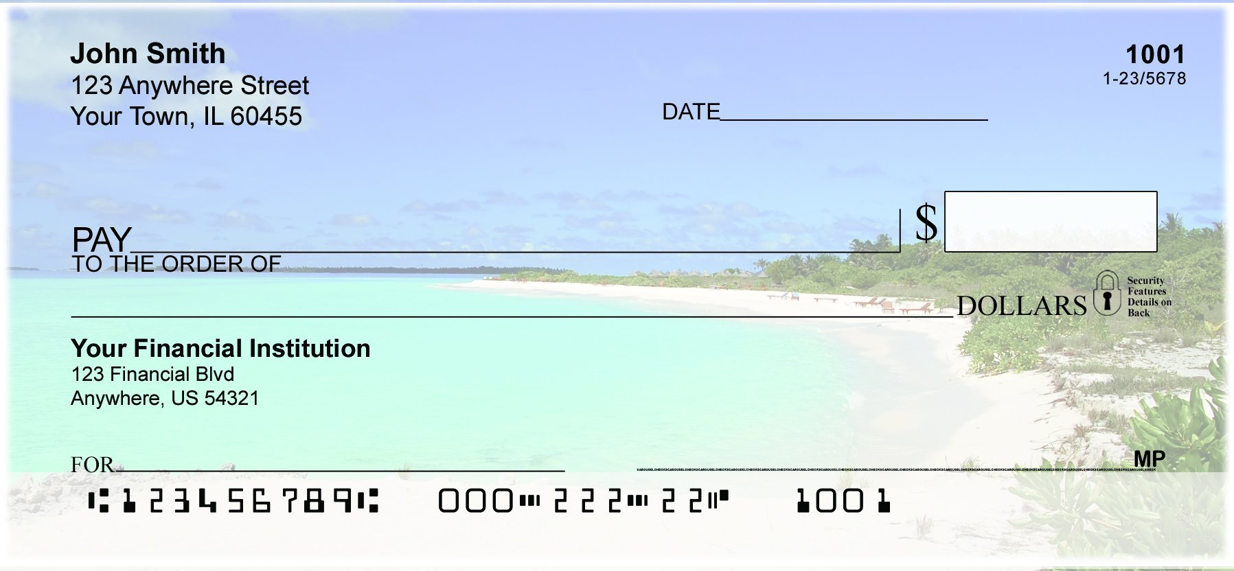 Beach Getaway Top Tear Personal Checks