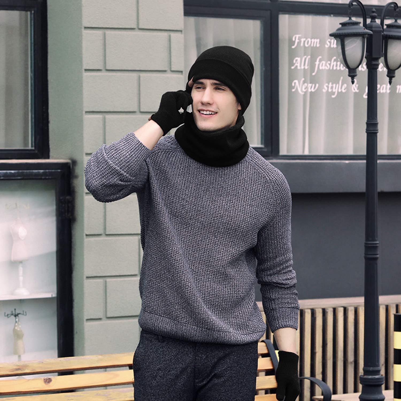 Gorro Invierno con Bufanda Calentar Sombreros Gorras Beanie de Punto para Hombre Mujer 2 Piezas Calentar Sombreros Gorras