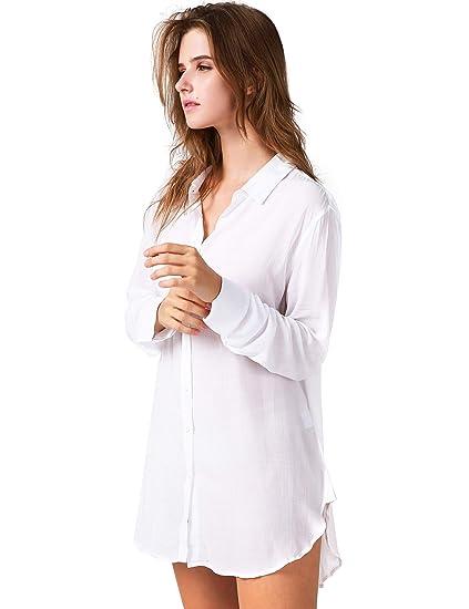 1583284488 TOUSYEA Nightshirts for Women Sleepshirt Sexy Boyfriend Sleepwear Long  Sleeve Nightgown Soft Pajama Tops in White at Amazon Women s Clothing store
