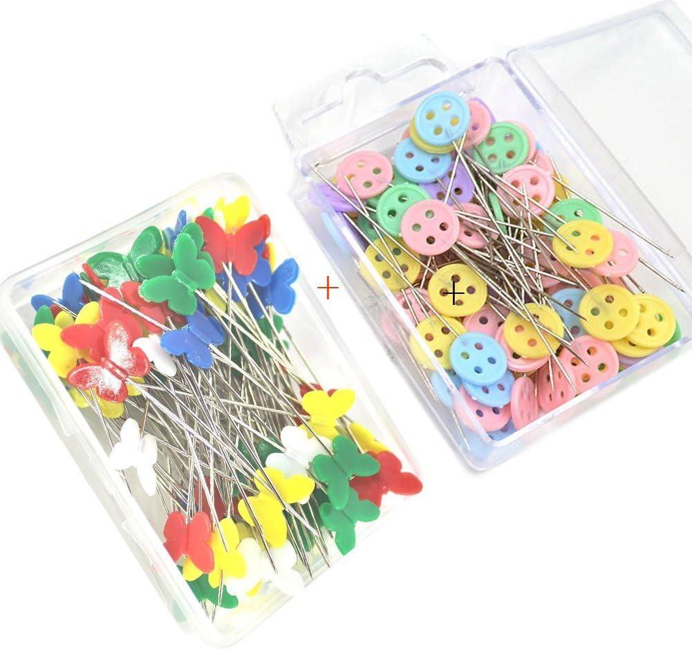 100x patchwork épingles Papillon Bouton Head Pins Quilting Outil main à coudre outil W
