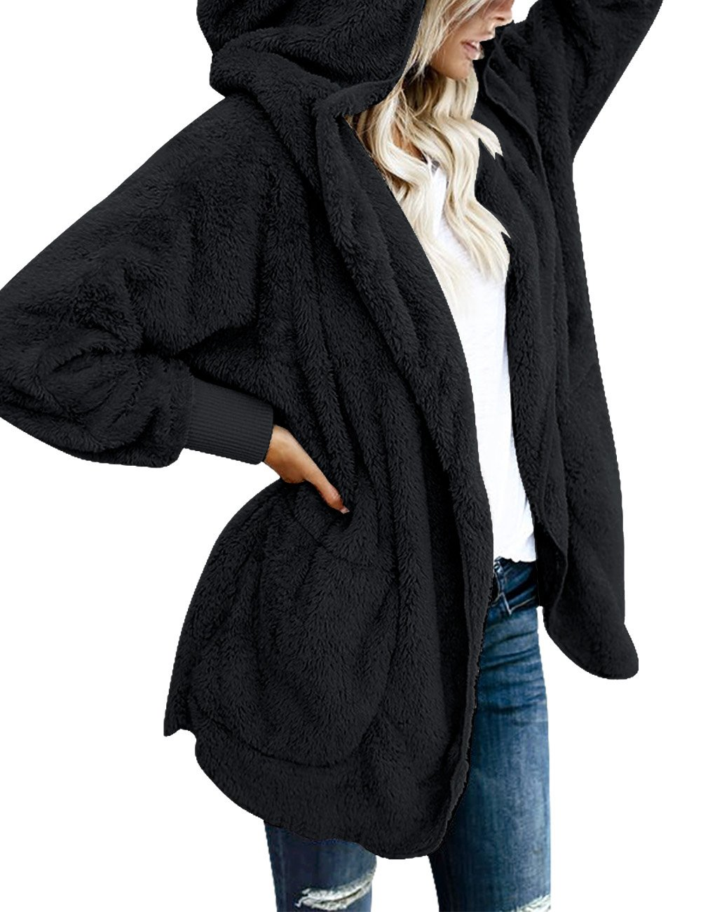 ACKKIA Women's Casual Draped Open Front Oversized Pockets Hooded Coat Cardigan Black Size XX-Large (US 20-22)
