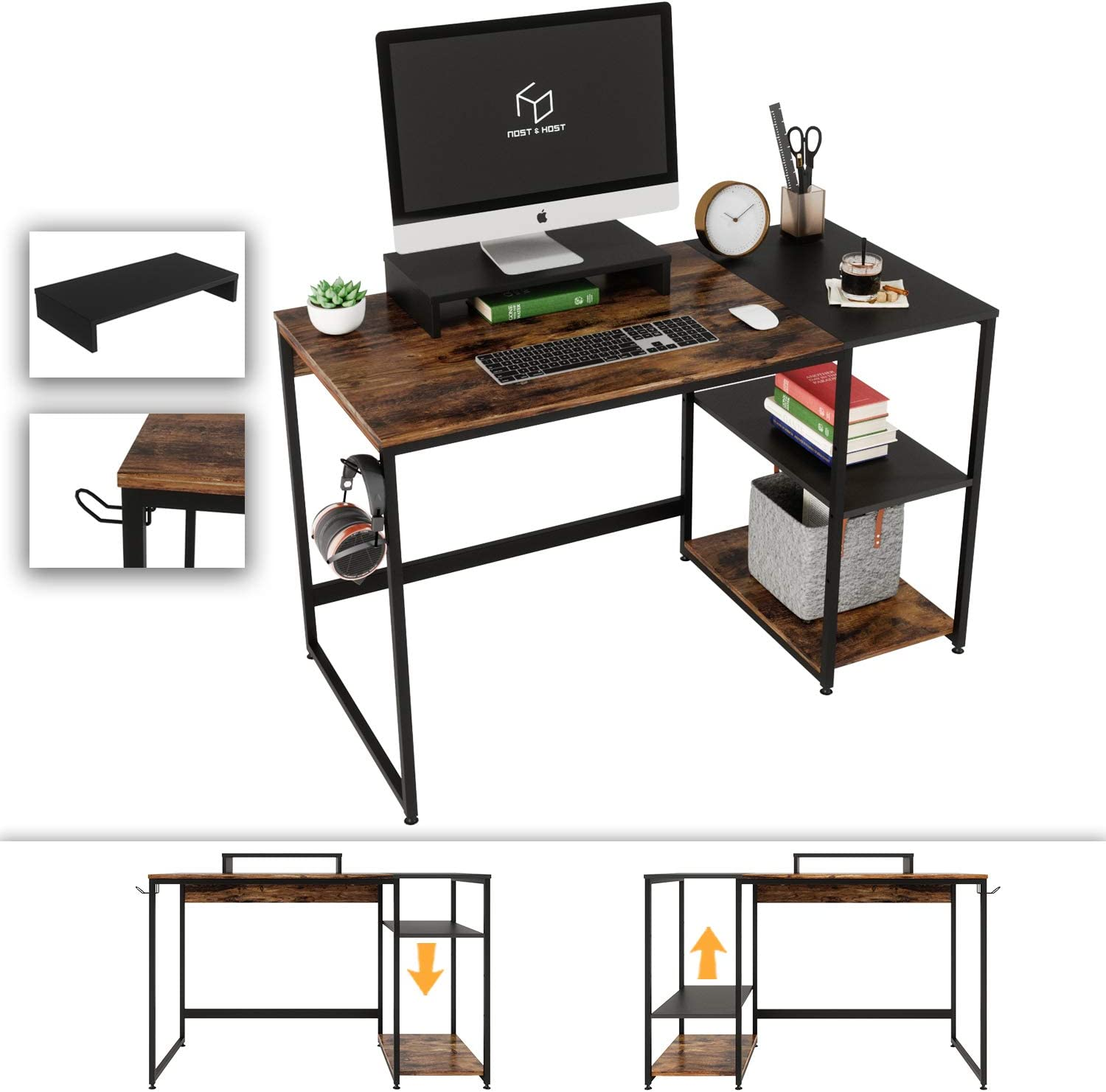 Nost & Host Computer Desk with Storage Shelves and Free Large Monitor Stand, Sturdy Wooden Modern Industrial Home Office PC Laptop Study Writing Table Workstation, 47.2 inches, Rustic Brown and Black