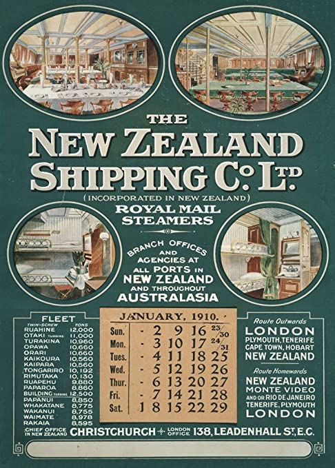 Nueva Zelanda Royal Mail Steamers, The New Zealand Shipping ...