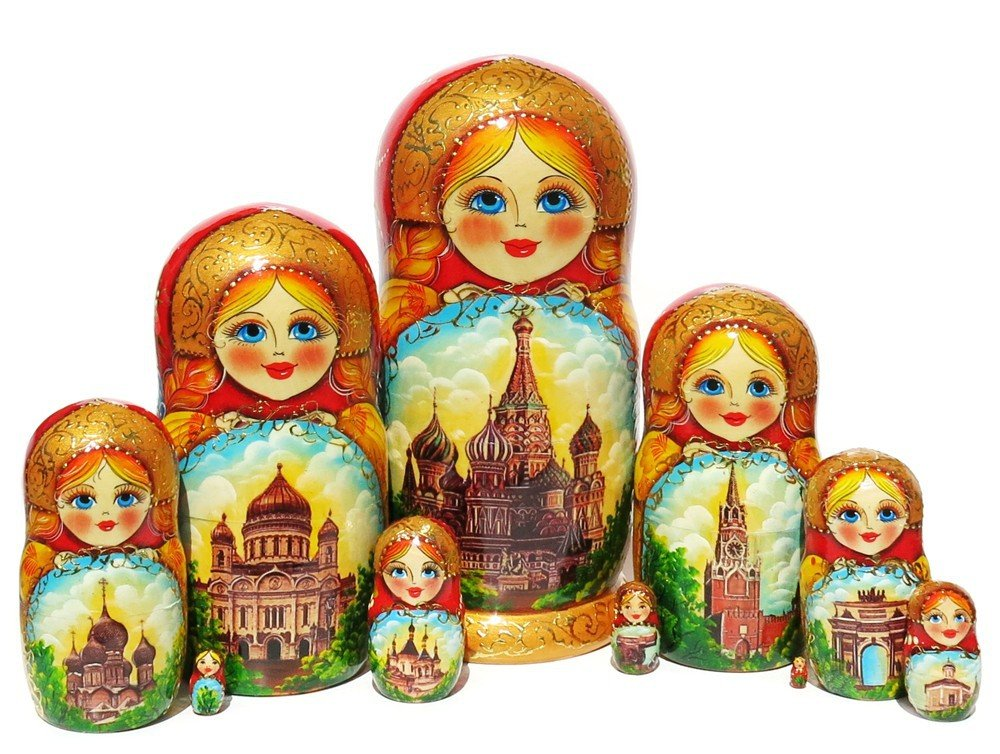 Moscow 10 Piece Red Nesting Doll City Sights Russian Kremlin Architectural Stacking Matryoshka Dolls