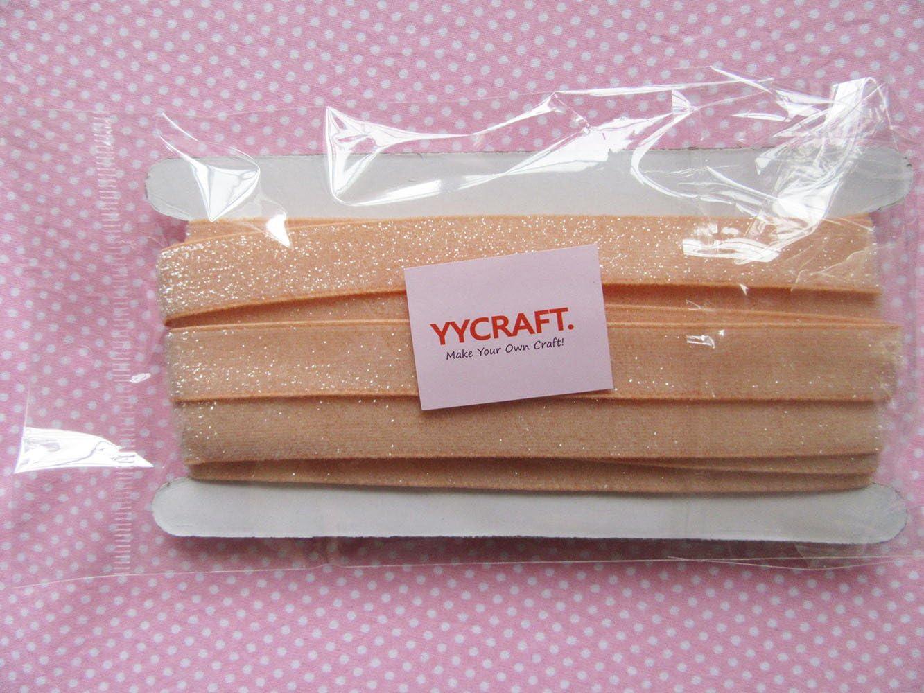 Gold YYCRAFT 5 Yards Glitter 3//8 Elastic Ribbon for Hair Ties Headbands