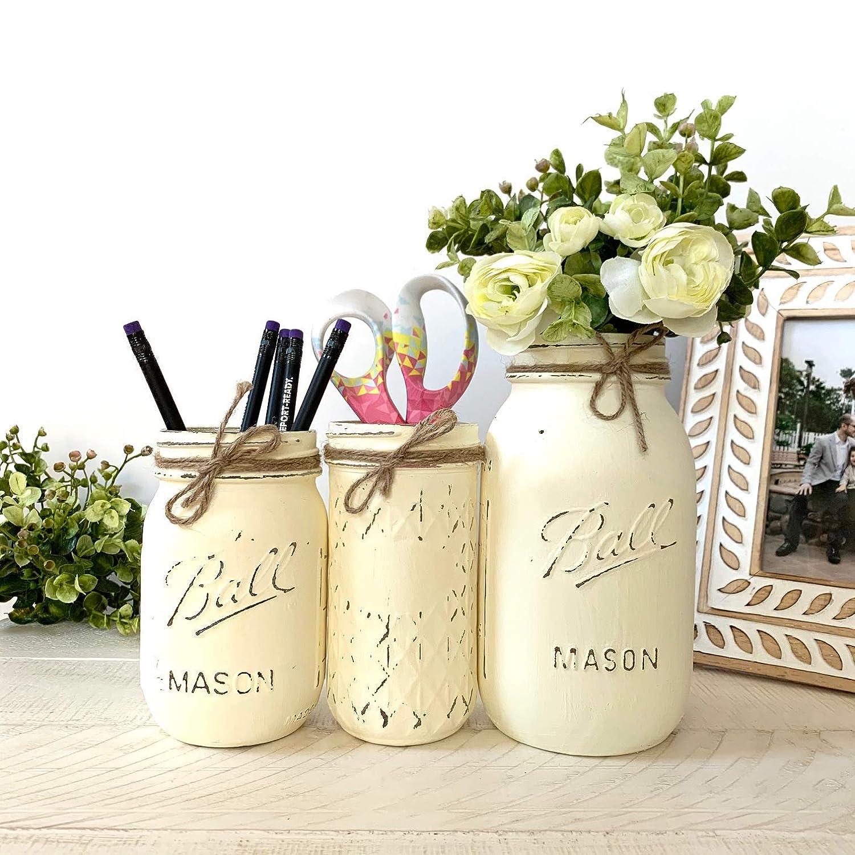Olive or Cranberry Farmhouse Hand Painted Distressed Quart Sized Mason Jar