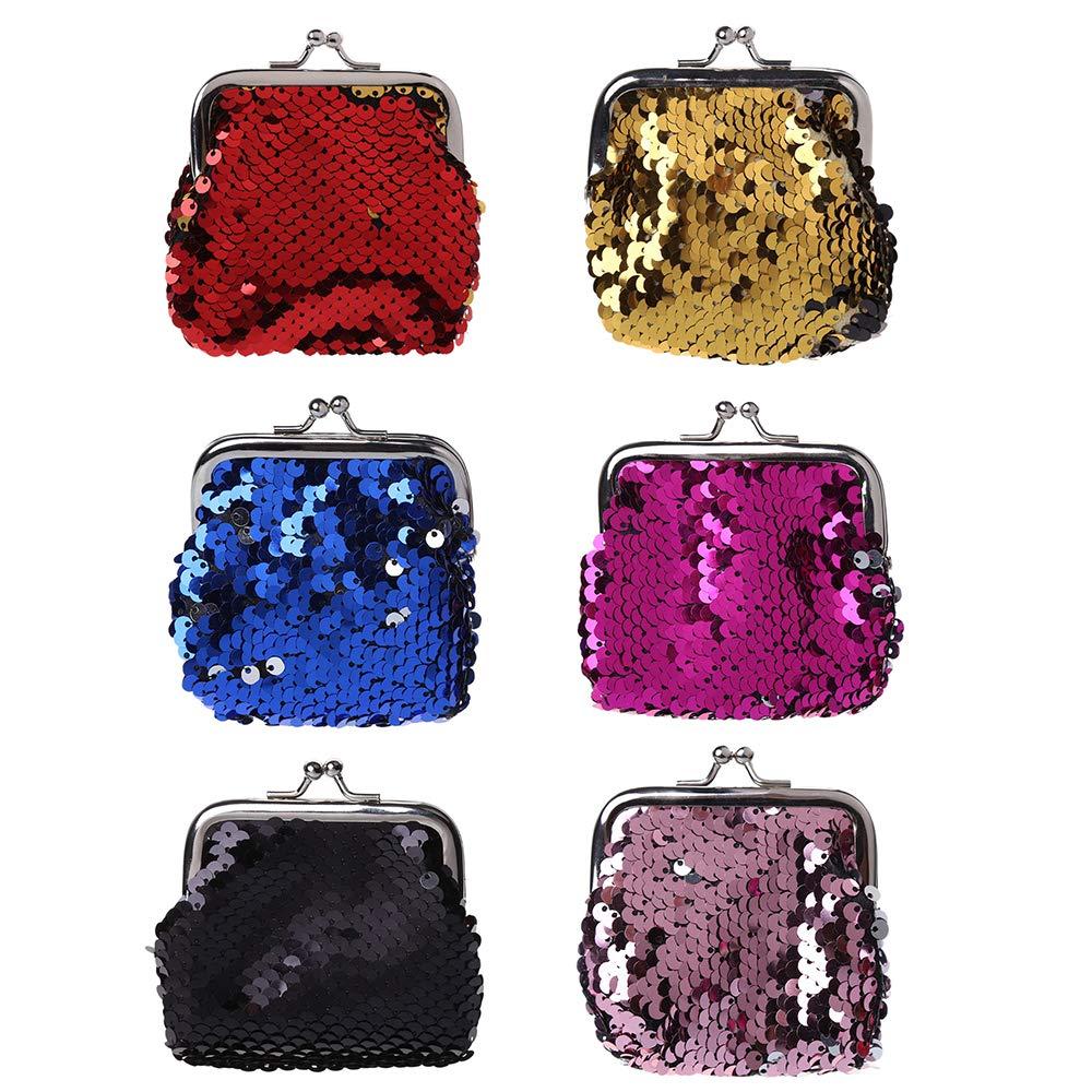 1 pezzi Nuovo modo donne della borsa paillettes borsa frizione chiave bullone Change in scatola fibbia portamonete custodia portachiavi, 9 x 9 cm, colore casuale 9x 9cm STRUGGGE