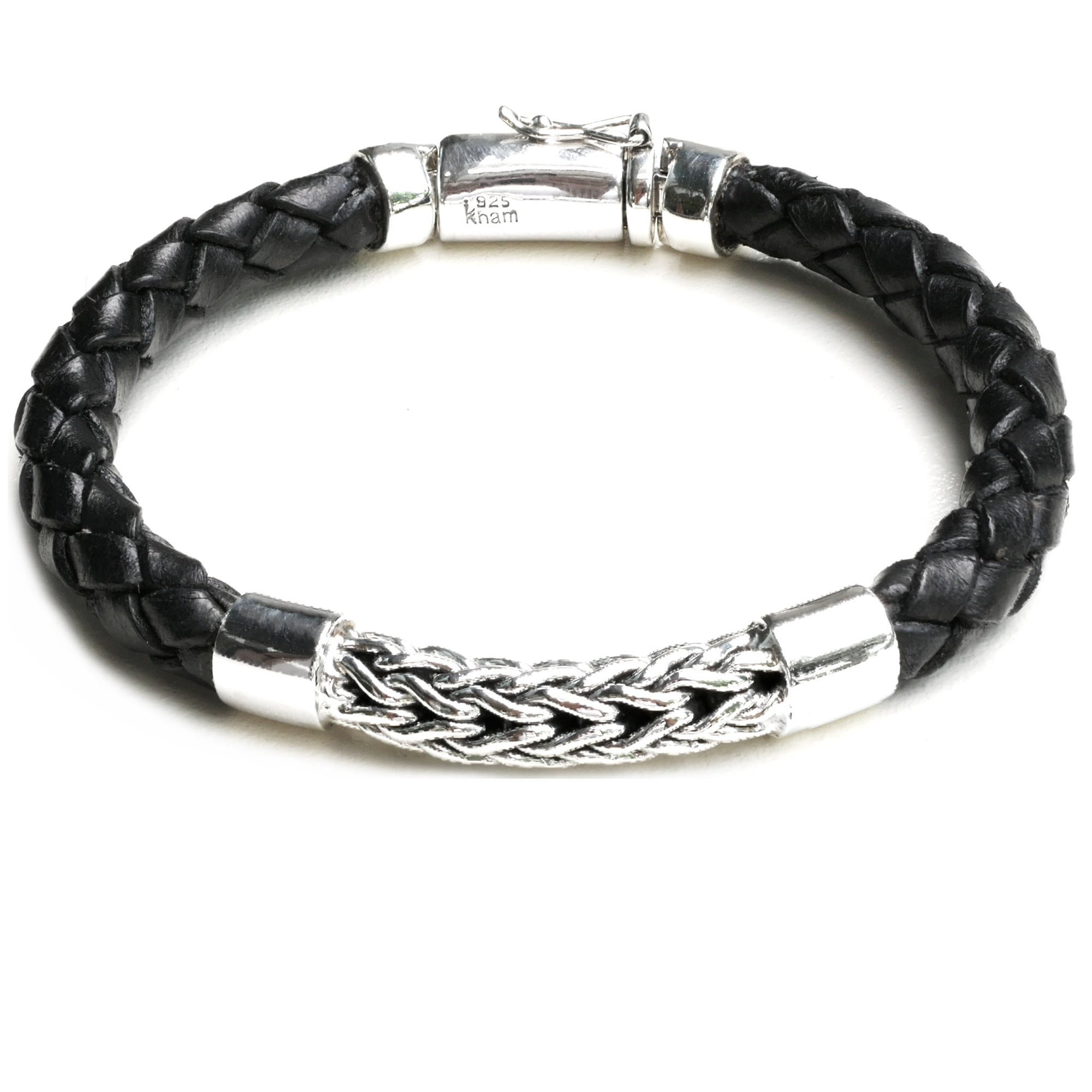 Kham 6MM Hand Woven 925 Sterling Silver and Braided Bali Style Genuine Black Leather Bracelet for Men Women Unisex (8.5)
