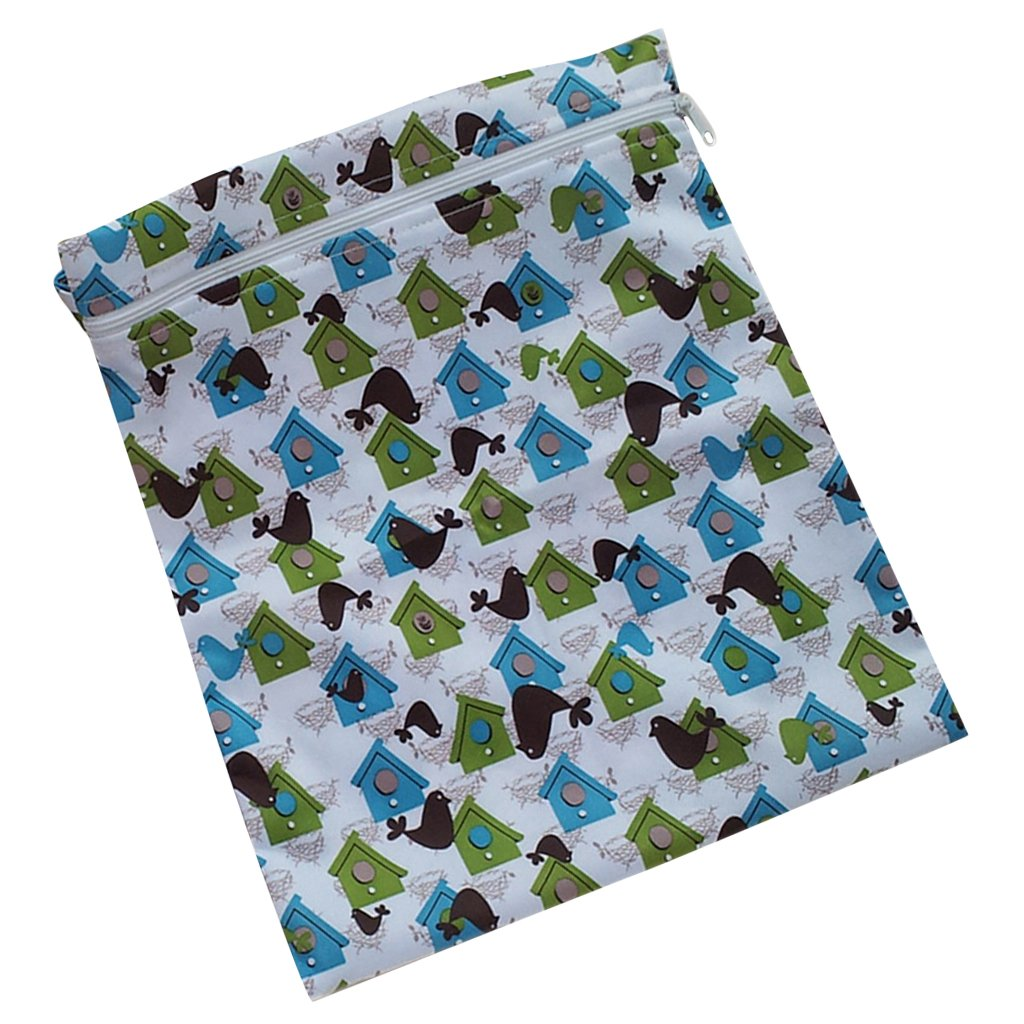 Baby Infant Waterproof Zipper Reusable Cloth Diaper Bag Lion Animal Pattern Beige