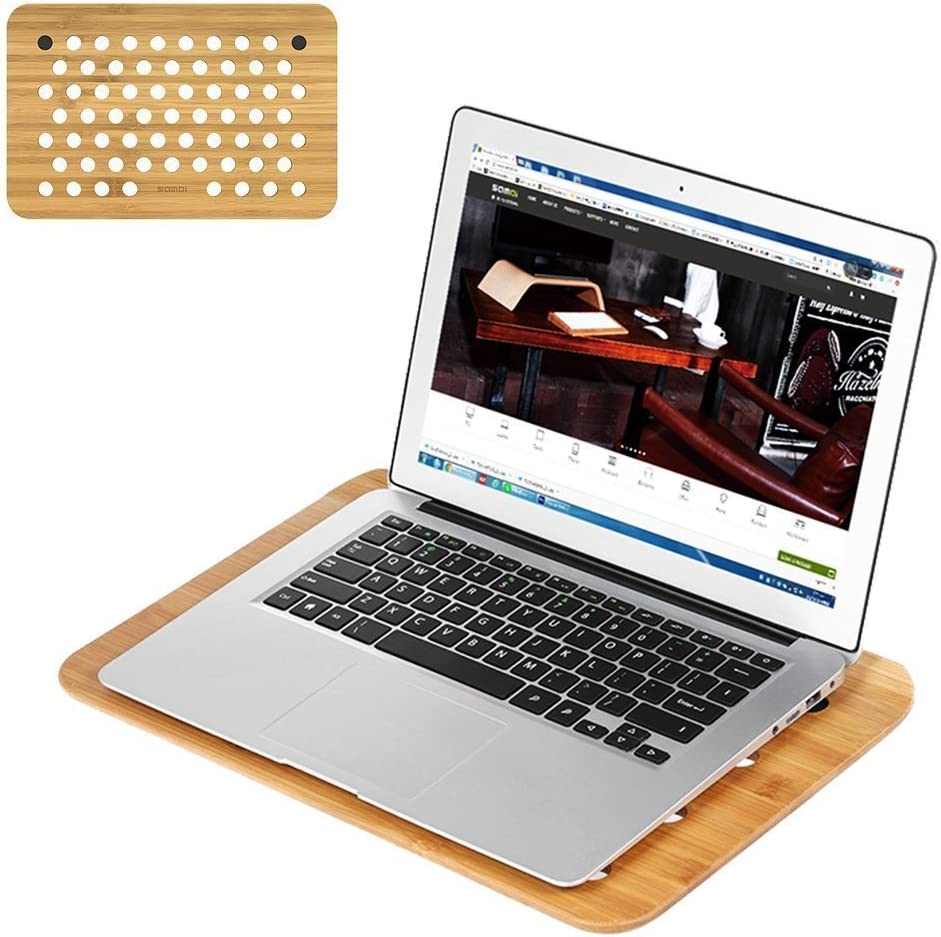 Laptop Cooling Pad, Bamboo Wood Laptop Cooling Mount Stand for All Laptops
