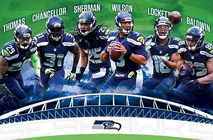 amazon com trends international seattle seahawks team wall poster