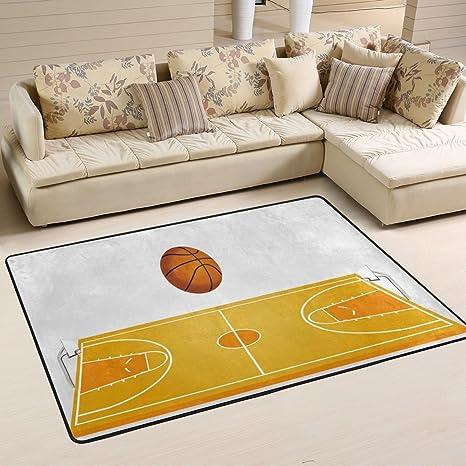 Amazon.com: ALAZA 3d cancha de baloncesto área alfombra ...