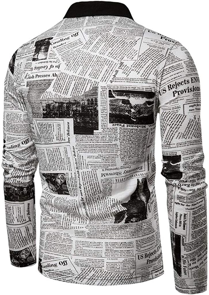 Gergeos Mens Printed Slim Fit Long Sleeve Cotton Button Shirt Casual Dress Shirts