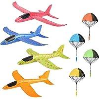 colmanda 4 Pcs Planos de Espuma + 4 Pcs Juguete de Paracaídas, Planeador de Espuma para Niños Juguete Paracaídas Set…