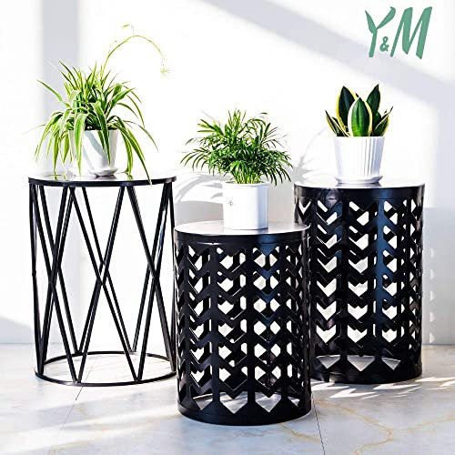 Set of 3 Nesting Metal Round Coffee Table, Side Table End Table for Indoor Outdoor Multifunctional Use,Heavy Duty Metal Plant Stand Garden Stool- Black Ship from US