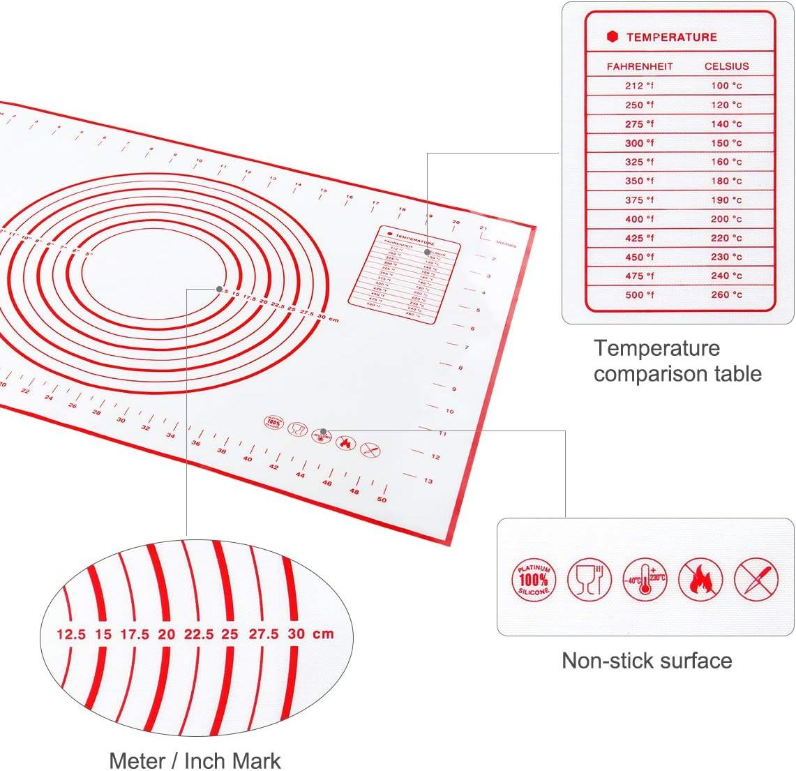 Tapete de Silicona para Hornear y Amasar la Masa Baking Mat con Medidas Libre de BPA para Hacer Fondant Pizza Dough Tarta 60 x 40 cm Raspador de Regalo y Cepillo de pasteler/ía