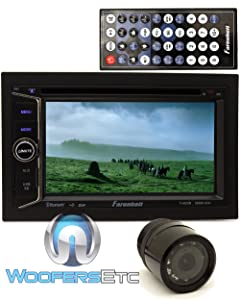 """pkg Farenheit TI-623B In-Dash 2-DIN 6.2"""" LCD Touchscreen DVD Receiver with Bluetooth + HTC 36 XO Vision Backup Camera with Nightvision"""