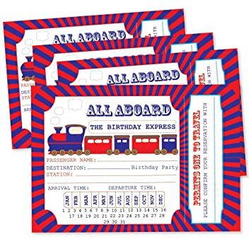 Steam train ticket party invitations pack of 8 amazon toys steam train ticket party invitations pack of 8 filmwisefo