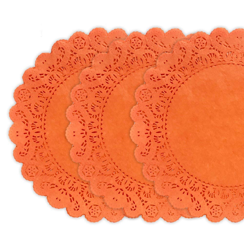 25 Pack - Quality Hand Dyed Tangerine Orange Paper Lace Doilies | Choose from 6'', 8'', 12'' size | Stylish table decor as placemats, plate chargers for Weddings, Bridal Showers, Party Events (12 inches) by Todo Papel