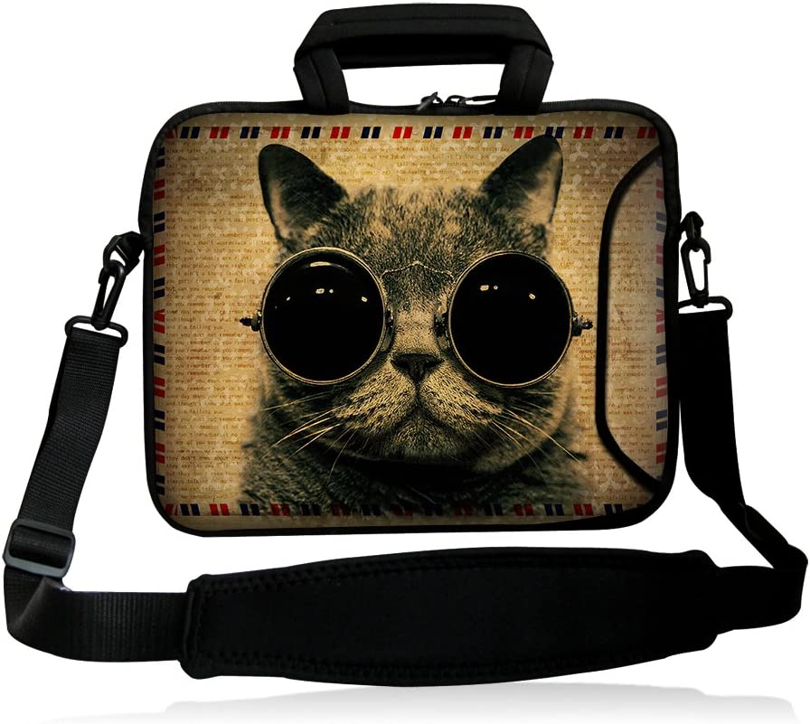 "iColor 13 Inches Laptop Shoulder Bag 11.6"" Netbook Neoprene Handle Sleeve Case Cover Suitable for 12"" 12.1"" 12.5"" 13.1"" 13.3 Inch Computer PC Tablets-Cat"