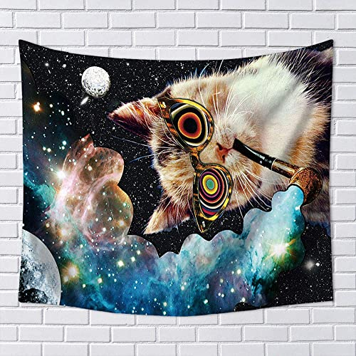 OCCIGANT Funny Hipster Cat Smoking Sunglasses Tapestry Wall Hanging Psychedelic Dazzling Starry Space Nebula Moon Home Decor Print Tapestry for Living Room Bedroom College Dorm Room.