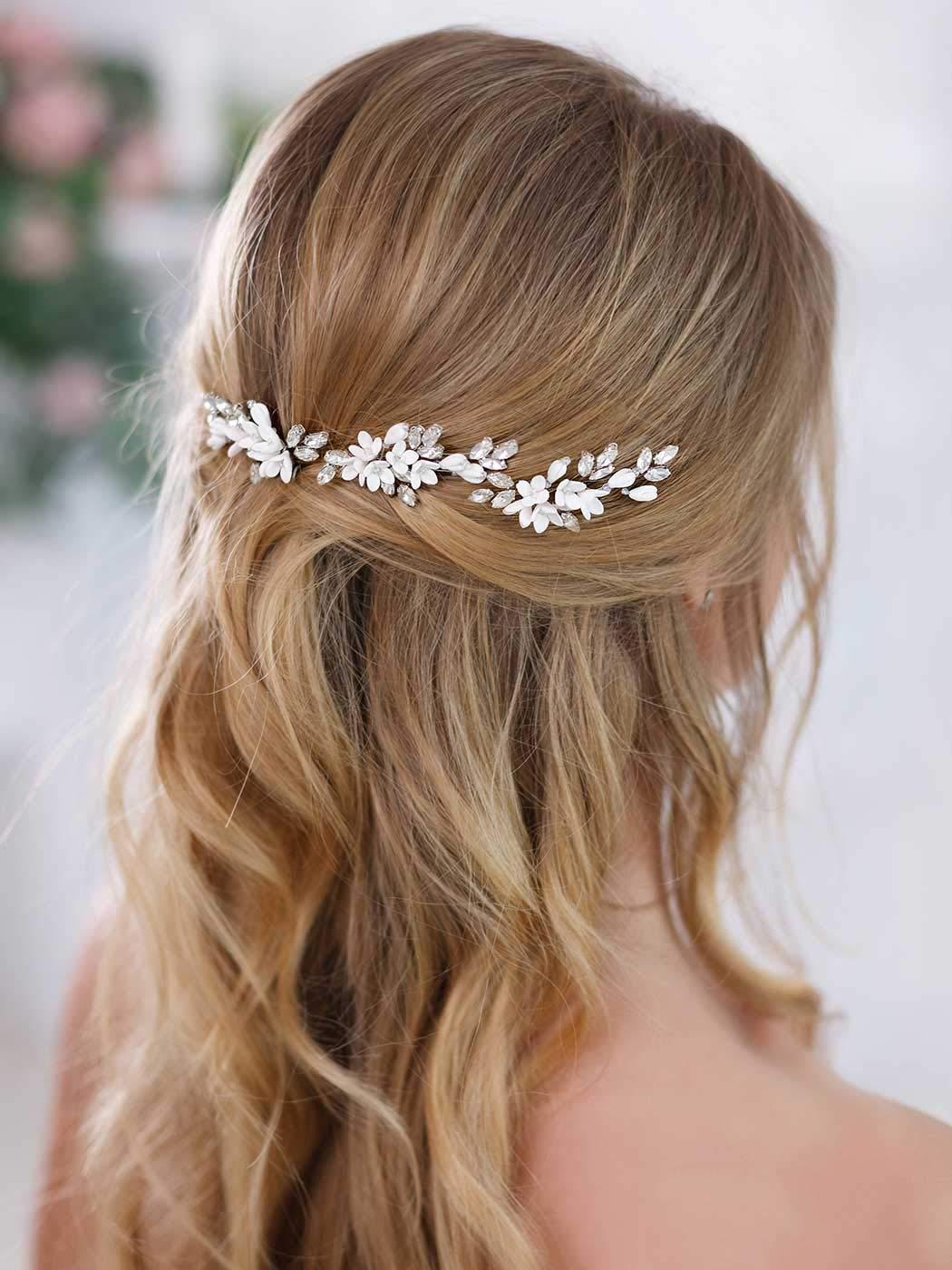 Barogirl Bride White Flower Wedding Hair Pins Clips Rhinestone Silver Bridal Hair Piece Accessories for Women, Set of 3 by Barogirl