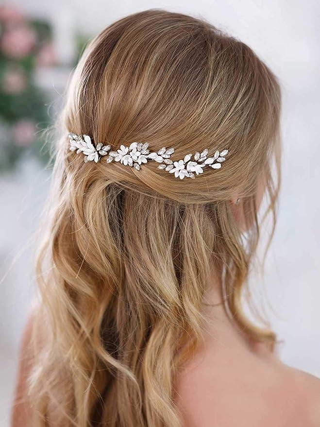 Flower hair comb white hair clip boho bridal foliage flower wedding hair slide slider hair pin headpiece