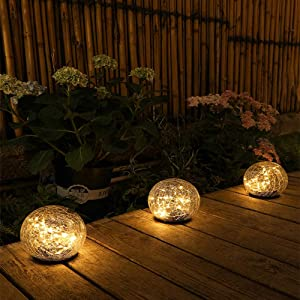 30LED-12CM Solar Buried Light Outdoor Cracked Glass Ball Garden Light Waterproof IP65 Decorated Patio Lawn Stairs Underground Lamp