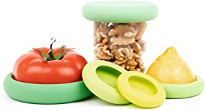 Food Huggers Reusable Silicone Food Savers Set of Five - Patented Product (Sage Green)