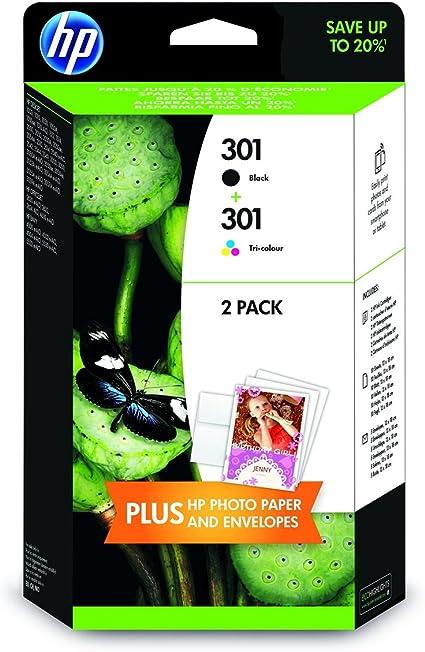 HP 301 2-Pack Black/Tri-Color Original Ink Cartridges - Cartucho de Tinta para impresoras (Negro, Cian, Magenta, Amarillo, 13 x 18 cm; Envelope, Brillo, 10-80%, -40-60 °C, 5-35 °C): Amazon.es: Oficina y papelería