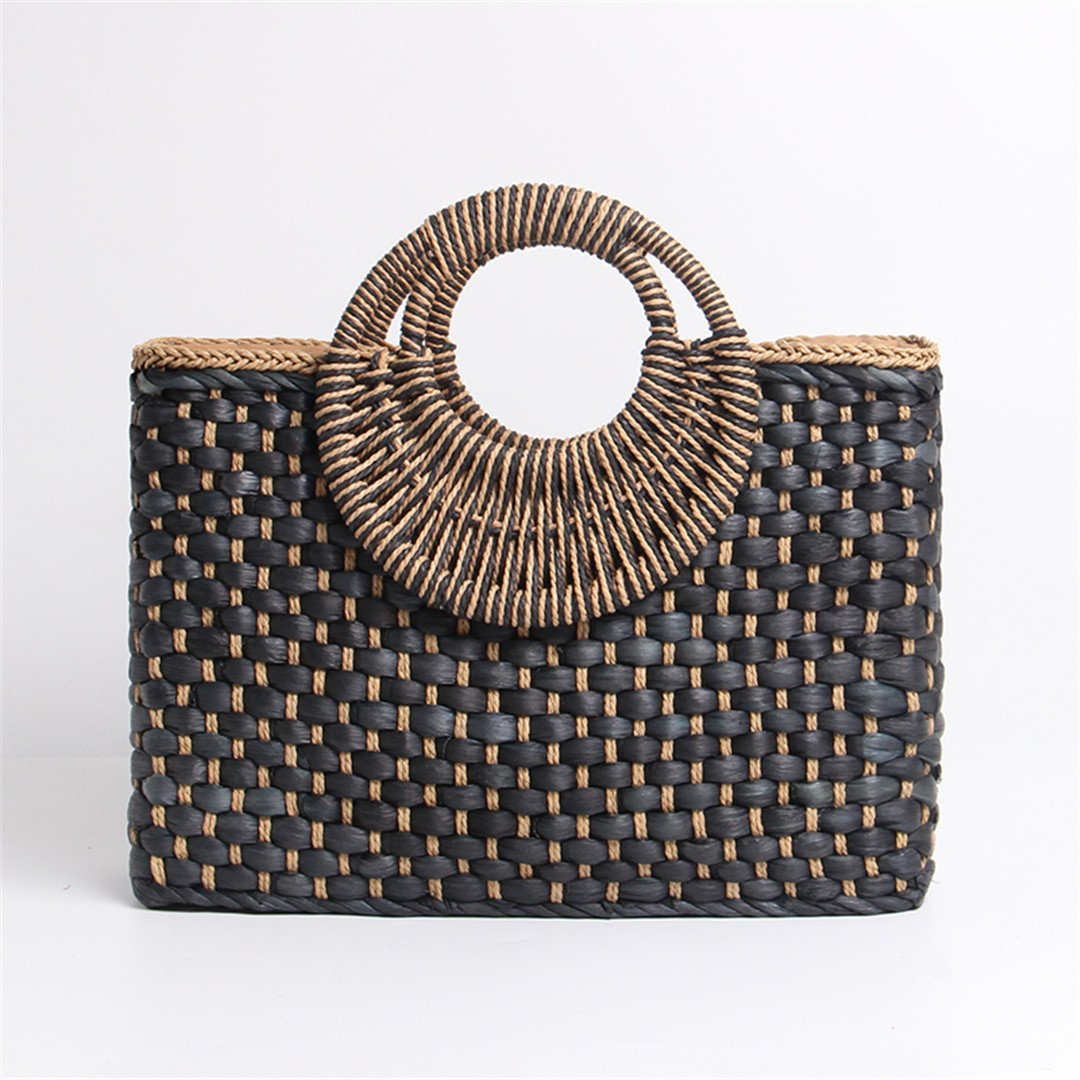 LAIHUIBAO an Style Bag Holiday Creative Weave Bamboo Handle Tote Women Big Shoulder Bag Rattan Straw Handbag Travel Basket Bag