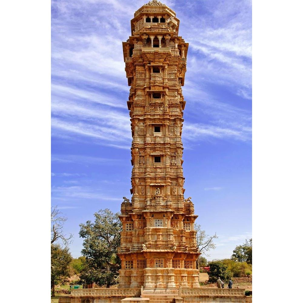 Buy Pitaara Box Tower of Victory Vijay Stambh Chittorgarh, India Peel &  Stick Vinyl Wall Sticker 18 X 27.1Inch Online at Low Prices in India -  Amazon.in