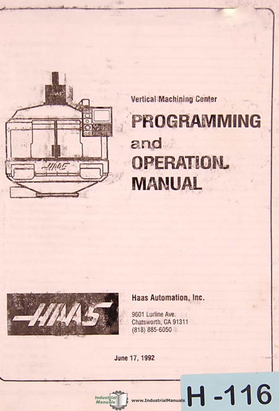 Haas Vf Vmc Program Wiring And Operations Manual Diagram Books