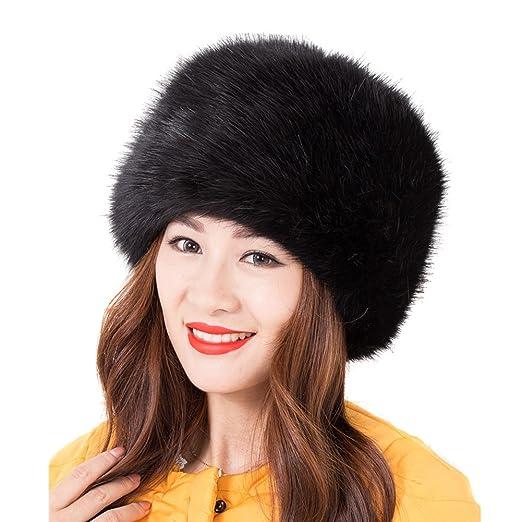 03faa2699 LITHER Women Ladies Girls Cossack Russian Style Faux Fur Hat Winter Warm Cap