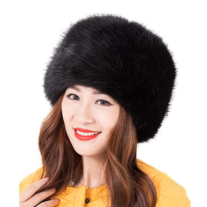 LITHER Women Ladies Girls Cossack Russian Style Faux Fur Hat Winter Warm Cap  Black 30df7d0e9a4