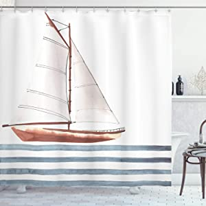 Ambesonne Nautical Shower Curtain, Let Your Dreams Sail Words with Boat in Waves Motivation Lifestyle Print, Cloth Fabric Bathroom Decor Set with Hooks, 75