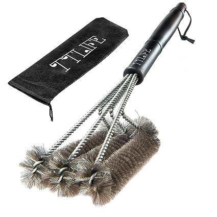 Cepillo para limpiar barbacoas TTLIFE, 45 cm, de acero inoxidable, con anilla para colgar, 3 lados