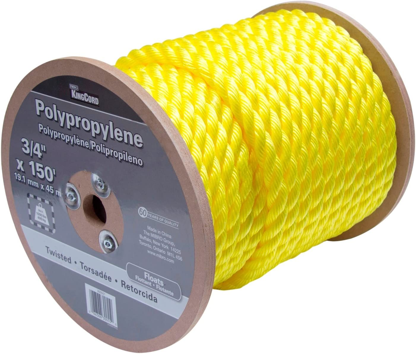 "KingCord 300551 Polypropylene Twisted Rope Reel 3/4"" x 150', Yellow"