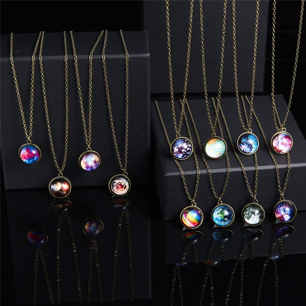SUGEER New Galaxy Necklace Star Galactic Cosmic Moon Necklace Natural Glass Pendant Jewelry Handmade Gifts for Women