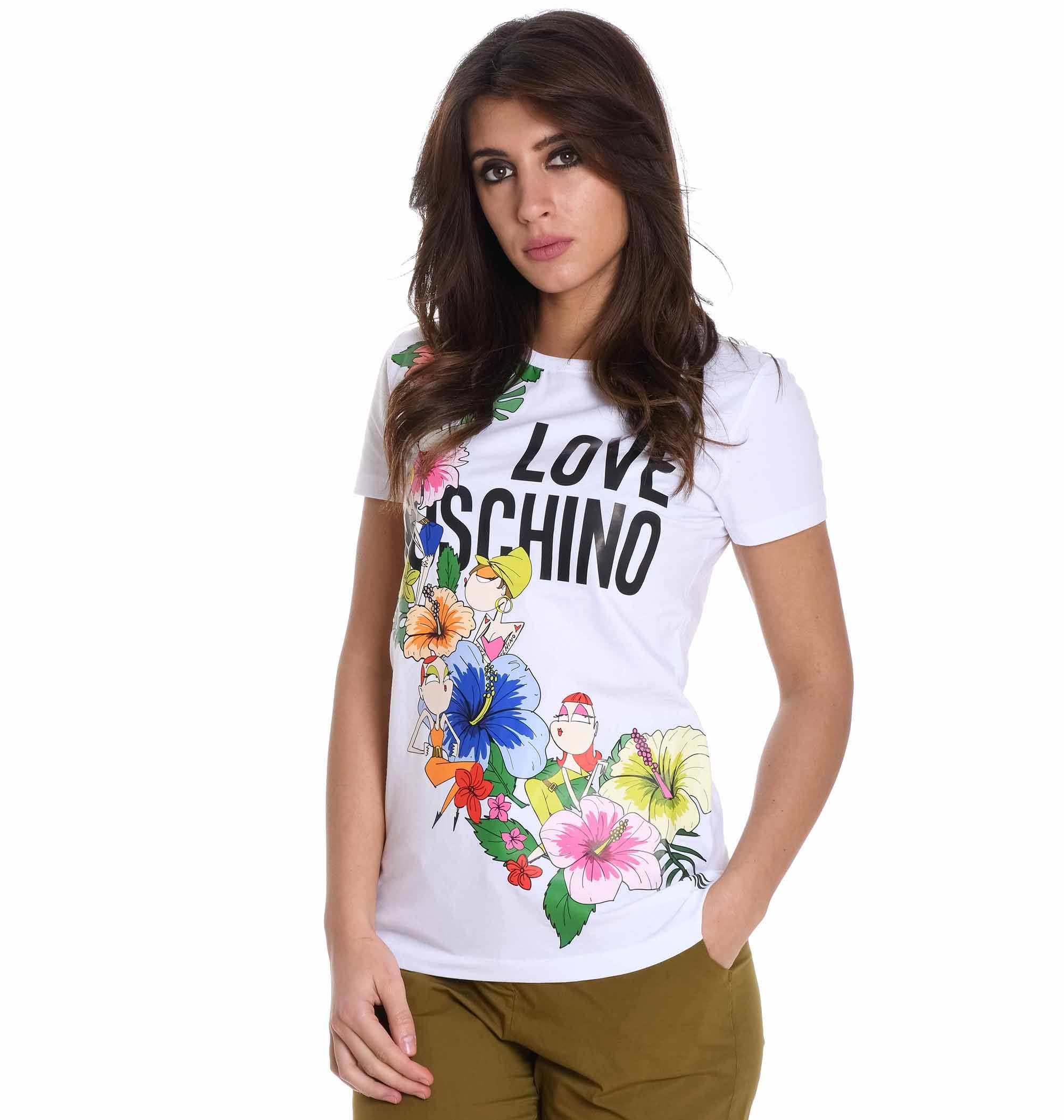 Love Moschino Women's W4f7330e1907a00 White Cotton T-Shirt