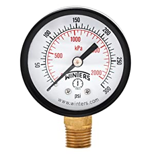 "Winters PEM Series Steel Dual Scale Economical All Purpose Pressure Gauge with Brass Internals, 0-300 psi/kpa, 2"" Dial Display, +/-3-2-3% Accuracy, 1/4"" NPT Bottom Mount"