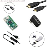 6 in 1 Set für Raspberry Pi Zero, transparente Acryl-Hülle + Micro-USB zu USB-Kabel + On/Off Kontroll-Kabel + USB 2.0 Hub Splitter mit 3 Anschlüssen + HDMI zu Mini HDMI-Kabel [Raspberry Pi Zero nicht enthalten]