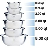 Quality Stainless Steel Mixing Bowls Set of 6. Nested Bowl Design Large to Small for Cooking Baking Prepping Food at…