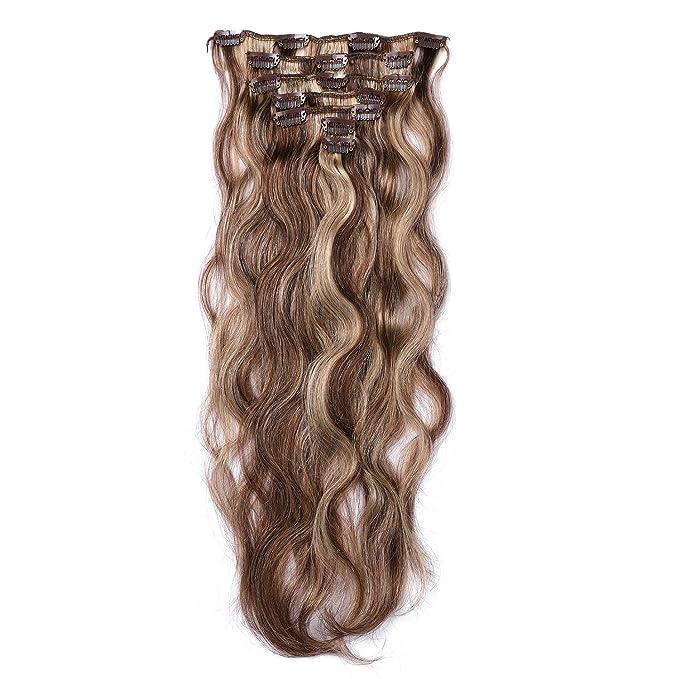 Clip en extensiones de cabello Extensiones de cabello humano real 18 pulgadas 70g Clip en cabello fino Cabeza completa 7 piezas Onda de cuerpo ondulado ...