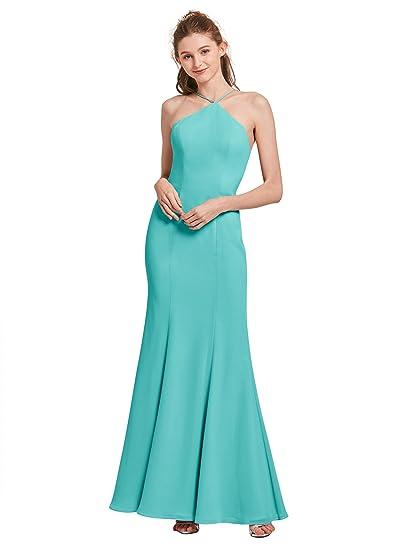 Alicepub High Neck Mermaid Bridesmaid Dresses for Womens Formal Evening Prom Gowns Maxi Dress, Aqua