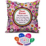 Indigifts Dear Sister Sibling Love Micro Satin Fibre Cushion Covers With Filler, 12X12-Inches, Multicolour